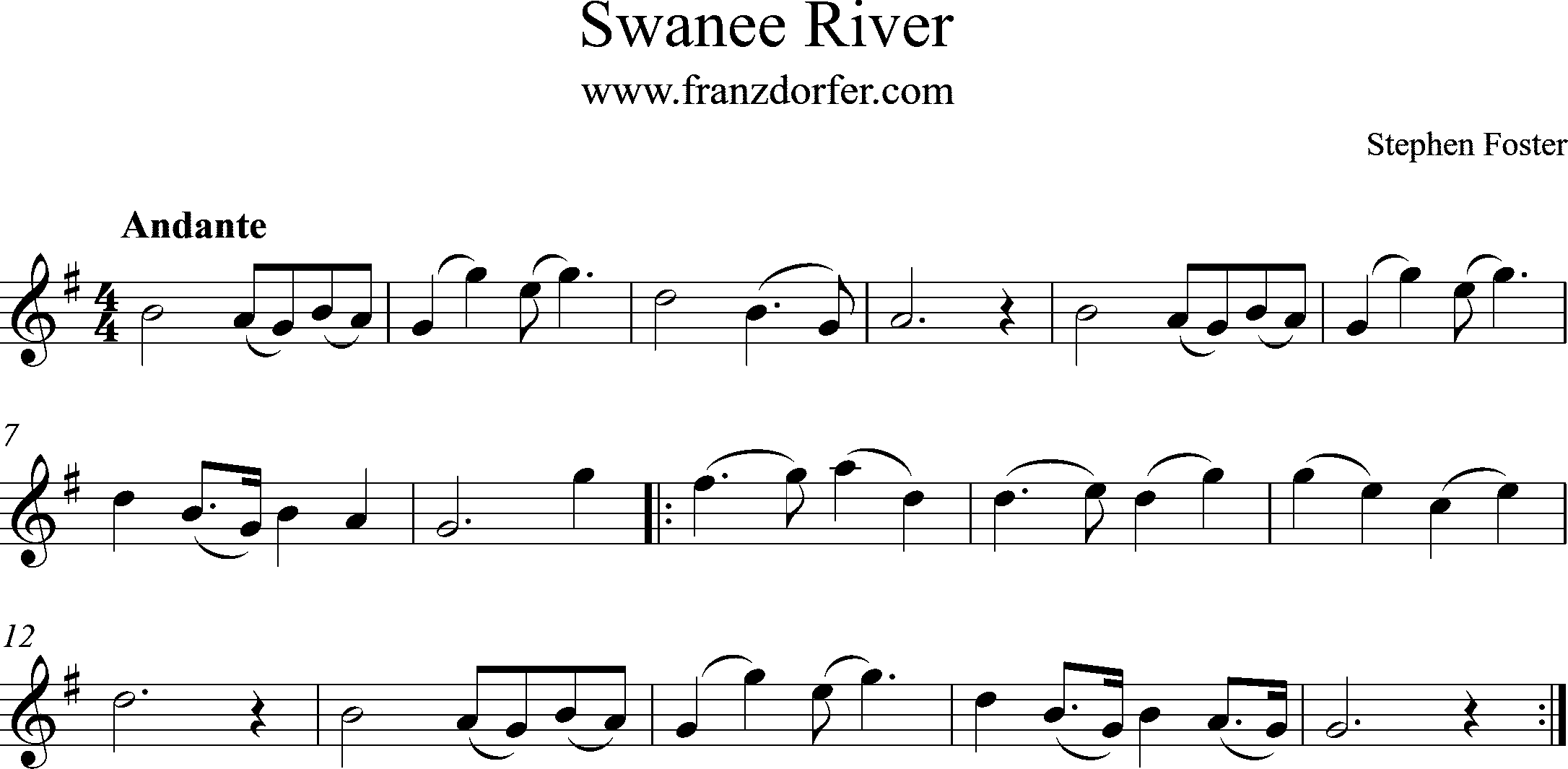 Swanee River freesheetmusic G-Major